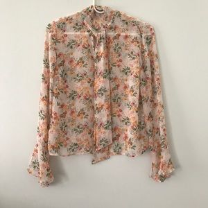 Forever 21 Bell Sleeve Blouse Peach and Orange S